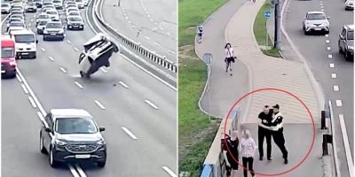 Феєрична ДТП: п'яний водій зачепив обірвані дроти, перекинувся в авто і намагався утекти – відео